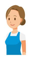 A woman wearing a blue apron. oblique angle