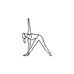 Woman doing yoga in triangle pose hand drawn outline doodle icon. Relaxation, fitness activity, balance concept. Vector sketch illustration for print, web, mobile and infographics on white background.