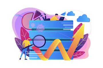 Developer with magnifying glass working with big data and zigzag arrow. Digital analytics tools, data storage and software engineering concept, violet palette. Vector isolated illustration.