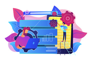 Developer using big data applications and tablet. Data processing software, database management and analysis, information privacy concept, violet palette. Vector isolated illustration.