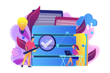 Developers with magnifying glass studying data analytics. Database research and management, search analysis, big data statistics and sharing concept, violet palette. Vector isolated illustration.