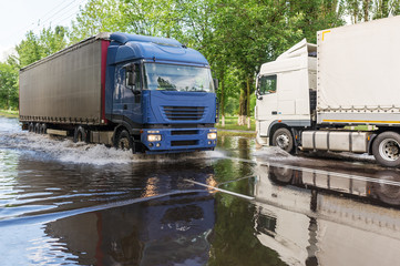 Floods hit the town Gomel in Belarus after heavy rain. Autoroad were flooded.