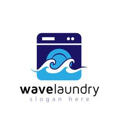 wave washer laundry logo vector element. laundry logo template