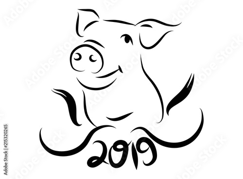 Continuous Line Drawing Of Cute Pig Vector Illustration Simple