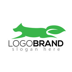 wolf and leaf tail logo silhouette vector element. animal logo template