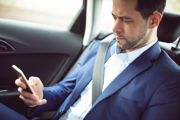 Businessman using mobile phone in a car