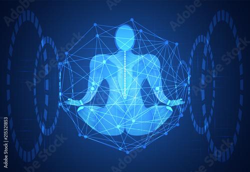 Abstract Technology Science Concept Human Body Line Blue Health Digital MedicinemeditationHealing