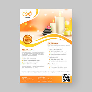 Advertisement concept template or flyer design for spa with 100% result assurance.