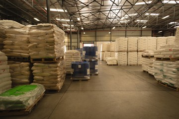 White cements in warehouse