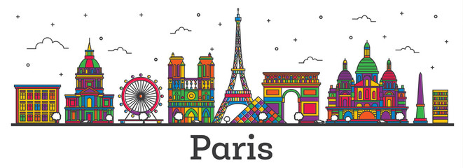 Outline Paris France City Skyline with Color Buildings Isolated on White.