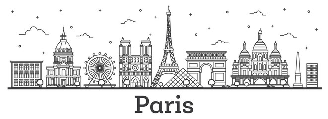 Outline Paris France City Skyline with Historic Buildings Isolated on White.