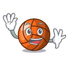 Waving volleyball character cartoon style