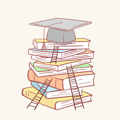 Pile stack ladder graduation academic cap books hand drawn style vector doodle design illustrations