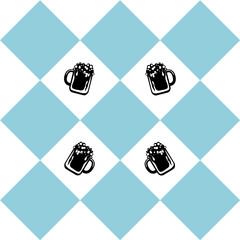 Nahtloses Muster zum Oktoberfest in blau weiß kariert mit Bierglas. vektordatei eps 10