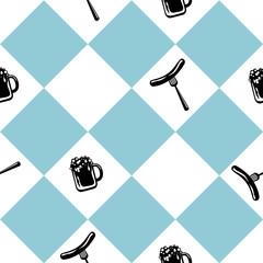 Nahtloses Muster zum Oktoberfest in blau weiß kariert mit Bierglas und Bratwurst. vektordatei eps 10