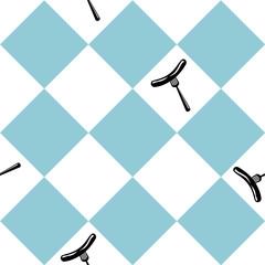 Nahtloses Muster zum Oktoberfest in blau weiß kariert mit Bratwurst. vektordatei eps 10