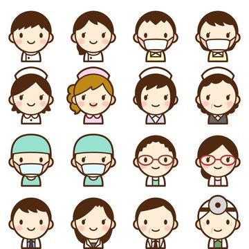 様々な世代の医療関係者 男女 白衣 顔 表情 かわいい アイコン セット