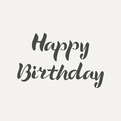 Happy Birthday hand lettering. Elegance calligraphic dark inscriptions isolated on white background. Vector illustration.