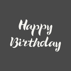 Happy Birthday hand lettering. Elegance calligraphic light inscriptions isolated on dark background. Vector illustration.