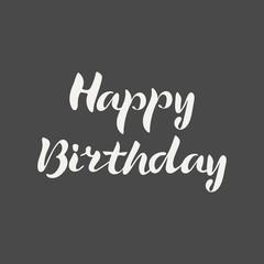 Happy Birthday hand lettering. Elegance calligraphic light inscriptions isolated on dark background. Vector illustration.
