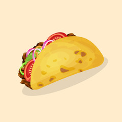Taco - cute cartoon colored picture of traditional mexican food. Graphic design elements for menu, packaging, advertising, poster, brochure or background. Vector illustration of fast food.