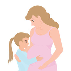 Little girl touching her pregnant mom belly.