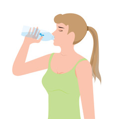 Young woman drinking water from plastic bottles.