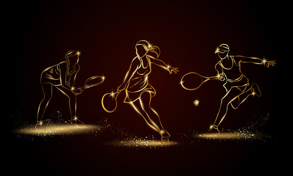 Professional woman tennis players set. Golden linear tennis player illustration for sport banner, background and flyer.