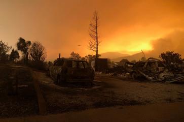 A blackened landscape is shown from wildfire damage near Keswick, California
