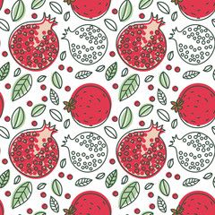 Garnet seamless pattern. Hand drawn fresh pomegranate. Multicolored vector sketch background. Colorful doodle wallpaper. Exotic tropical fruit. Red print
