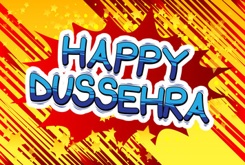 Happy Dussehra. Vector Illustration for the Hindu festival, with retro style comic book background.
