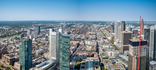 Panoramic  view  of the financial district in Frankfurt, Germany.