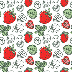 Strawberry seamless pattern. Hand drawn fresh berry. Multicolored vector sketch background. Colorful doodle wallpaper. Red and green print