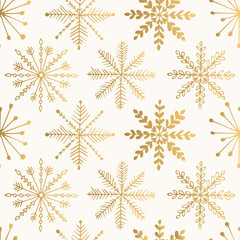 Vintage golden print with abstract snowflakes. Christmas vector design. Isolated elements.