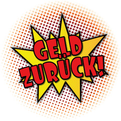 Geld zurück rote Comic Cartoon Explosion web Banner Text Illustration