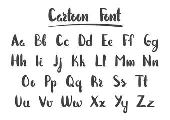 Vector illustration: Hand Drawn cartoon alphabet letters isolated on white background. Modern brush lettering