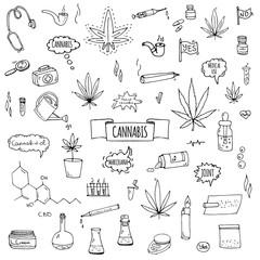 Hand drawn doodle Cannabis icons set Vector illustration sketchy symbols collection Cartoon concept elements Marijuana, Bag, Medical Use, Leaf, Drug, Legalization, CBD chemical formula, pipe, joint