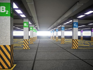 Empty parking lot with signs and guidelines. 3D illustration