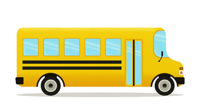School bus. Vector. Yellow schoolbus icon isolated on white background, side view. Back to school poster.
