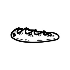 Hand Drawn loaf doodle. Sketch style icon. Decoration element. Isolated on white background. Flat design. Vector illustration