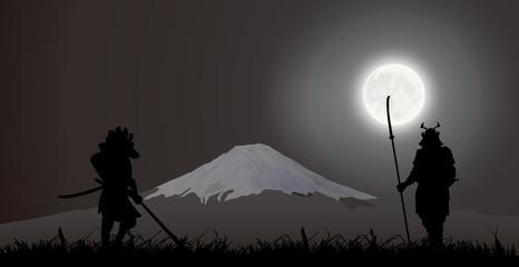 Japanese Samurai fighting, Fujiyama