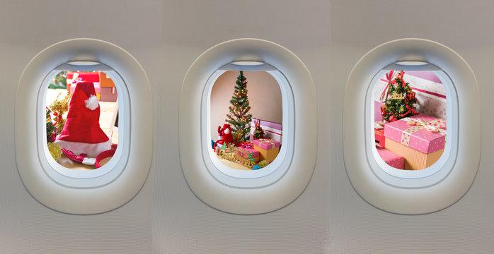 plane window and Christmas ornaments.
