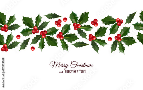 merry christmas and happy new year greeting card with holly berries seamless pattern border on white