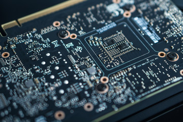 Circuit board background, still life photo
