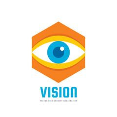 Vision - vector logo template concept illustration. Human eye. Medicine ophthalmology sign. Hexagon icon. Design element