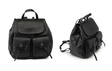 women black leather backpack isolated on white bacground