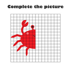 Complete the picture, crab in cartoon style, drawing skills training, educational paper game for the development of children,  kids preschool activity, printable worksheet, vector illustration