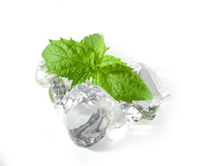 Fresh green mint with ice