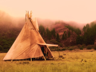American native tent camp teepees
