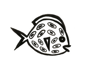 Hand drawn fish cartoon illustration